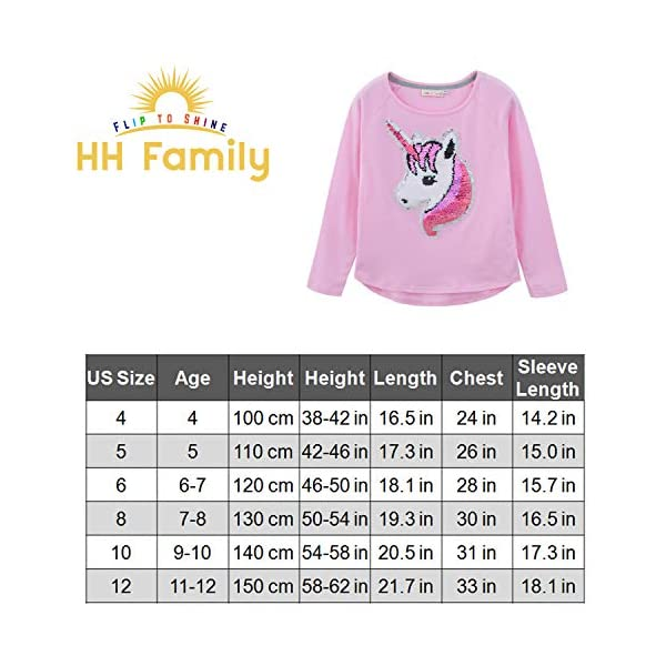 HH Family Flip Sequin Unicorn Shirt Tee for Girls 3-12 Years 9