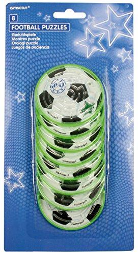 Amscan INT39275 - Geschicklichkeitsspiele Fußball, 8 Stück, Durchmesser circa 7 cm, Mitgebsel