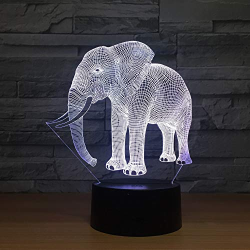 Birthday Kids Gift Table Lamp Ivory Elephant 3D LED Table Lamp Novelty LED Animal Lamp 7 Colorsful Changing LED Touch Night Light