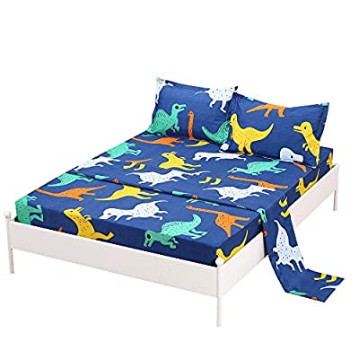 SDIII Dinosaure Bed Sheets Animal Bedding Sheet Sets with Flat Fitted Sheet for Boys, Girls and Kids