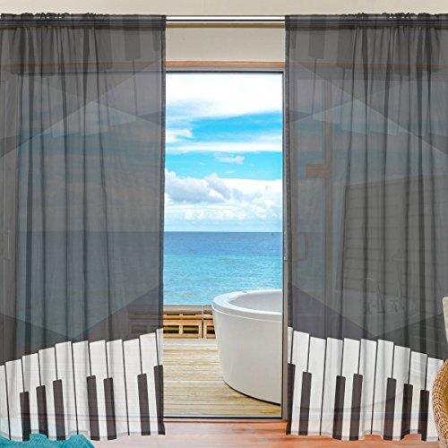 yibaihe Fenster Vorh?nge, Gardinen Platten Voile Drapes T¨¹ll Vorh?nge Schwarz und Wei? Klavier Schl¨¹ssel 139,7?cm W x 198,1?cm L 2?Eins?tze f¨¹r Wohnzimmer Schlafzimmer