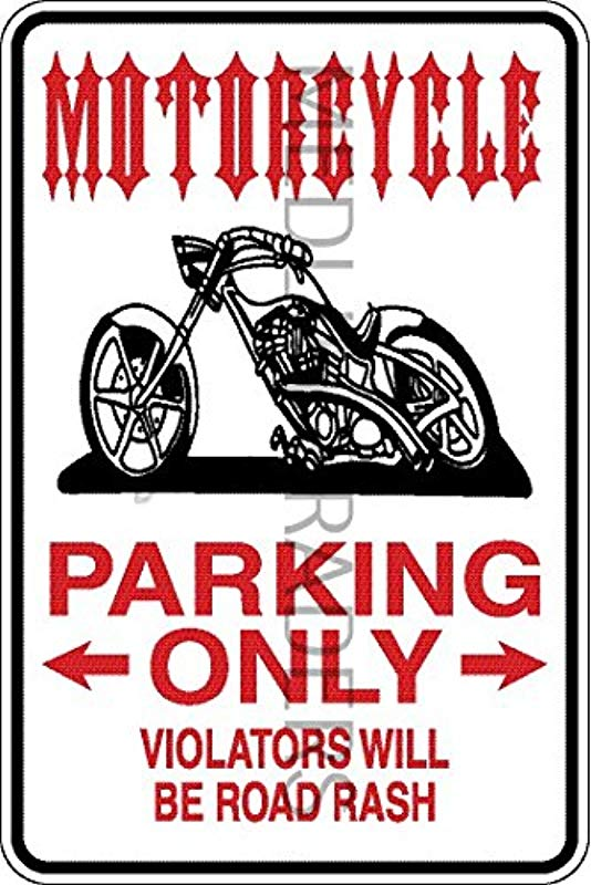 Novelty Parking Sign Motorcycle Parking Only Aluminum Sign S8284
