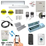 Zemgo FPC-8502 Smart Mobile WiFi Controller Access Control Reader with Software, Android+Apple App, Web Browser + Smartphone Remote Viewing, Automatic Door Opener Closer Inswing Door, 1200lbs Maglock