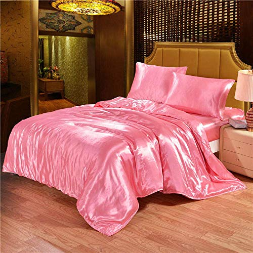 XYSQWZ King Bed Duvet Set,Solid Satin Silk Bedding Set Duvet Cover Sheet Bed Size King Queen,King(3Pcs) (King,220 * 240CM)