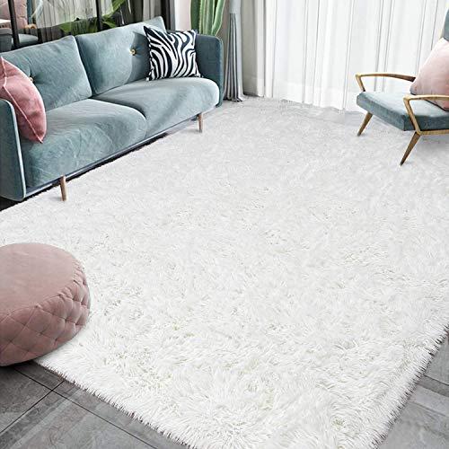 Homore Luxury Fluffy Area Rug for Bedroom Living Room Soft Carpets, Super Cute Comfortable Shag Rugs Modern Carpet for Kids Nursery Girls Home, 5x8 Feet Cream White