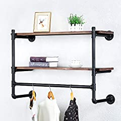 Industrial Pipe Clothing Rack Wall Mounted with Real Wood Shelf,Pipe Shelving Floating Shelves Wall Shelf,Rustic Retail Garment Rack Display Rack Cloths Rack,36in Steam punk Commercial Clothes Racks #1