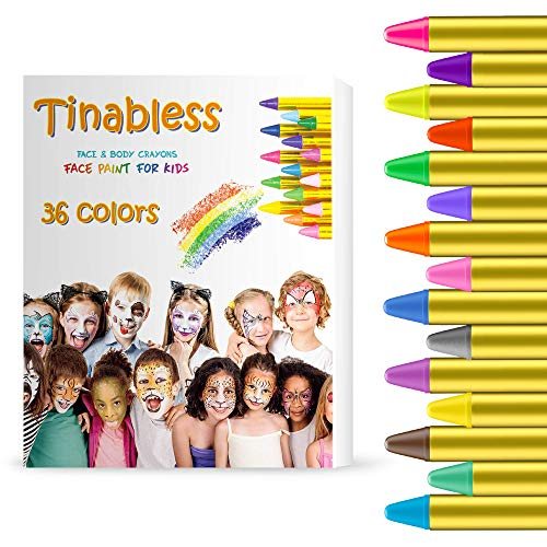 Gibot Face Paint Crayons 36 Colors Face and Body Paint Sticks Body Tattoo Crayons Kit for Kids, Child,Toddlers, Adult and World Cup Carnival,Non-Toxic,Set of 36