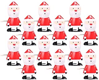 Plastic 12Pcs Christmas Wind Up Toys Santa Claus Winding Up Toy Clockwork Toy Gifts, Red