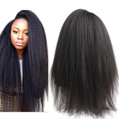 Italian Yaki Lace Human Hair Wigs For Black Women 150 Density Kinky Straight Lace Front Wigs Peruvian Yaki Wig Pre Plucked with Baby Hair Queen Plus Hair (18inch, 13x4 wig)