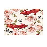 HiYash ファッションガールバレンタインデーギフトバスラグヴィンテージハイヒール水彩バラ花滑り止め玄関床玄関屋内フロントドアマットキッズバスマット15.7x23.6in