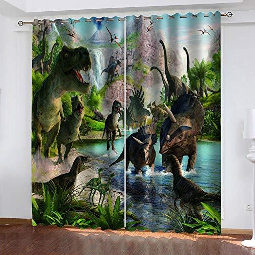 tende soggiorno 90 x 260 LWXBJX Tende Oscuranti e Termiche Isolanti per Soggiorno - Dinosauro animale - 3D Stampa 90% Tende Oscuranti Occhielli Termiche Isolanti - 280 x 260 cm - Soggiorno Moderne Cameretta Bambini Salotto