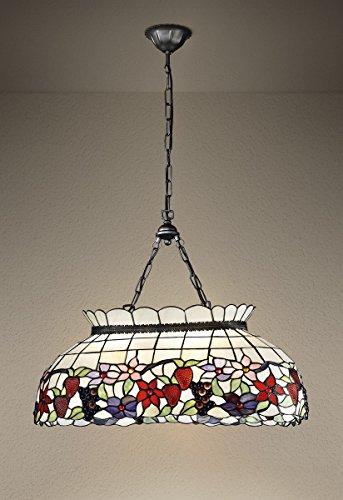 Lampadario con catena TIFFANY modello T994S Lampadario a sospensione decorato con fiori e frutta