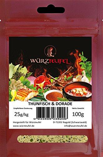 Thunfisch und Dorade. Grill -& Bratgewürz für Fisch, Fischgewürz mediterrane Art. Beutel 100 Gramm.