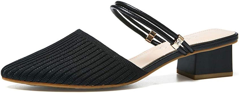 Ailje Woherrar sommar mode Sandals, utomhus korean Woherrar Slipper Slipper Slipper s One Word Buckle Baotou Half Slipper Two Ways Wearingaa 3 Färgs  ta upp till 70% rabatt