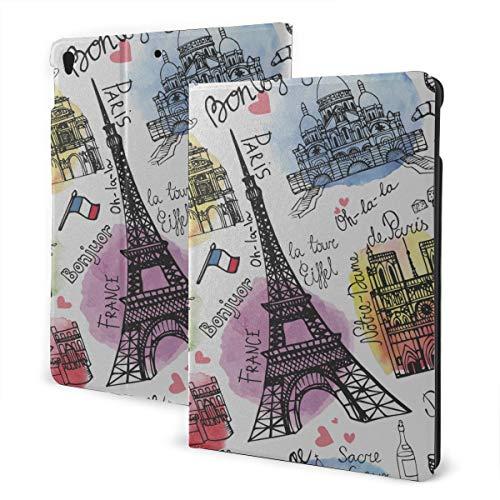 JIUCHUAN Ipad Cover Bag 2019 Ipad Air3/2017 Ipad Pro 10.5 Inch Case/2019 Ipad 7th 10.2 Inch Case Paris Landmark Eiffel Tower Arc De Triomphe Protective Ipad Auto Wake/sleep