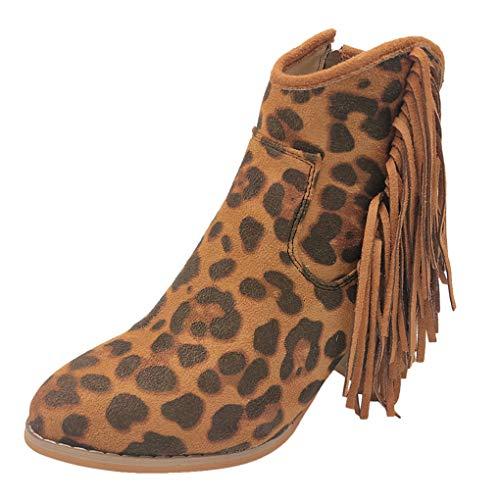Dorical Chelsea Boots für Damen/Frauen Ankle Boots Quaste Reißverschluss Stiefeletten Blockabsatz Stiefel Klassisch Komfortable rutschfest für Daily Casual Freizeitschuhe Gr 35-43(Khaki,36 EU)