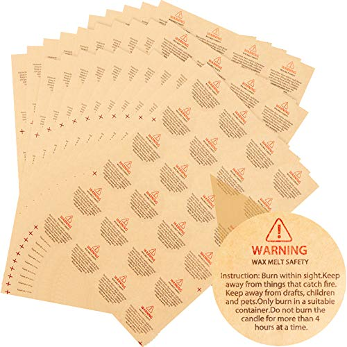 Kraft Candle Warning Stickers Safety Candle Labels Round Candle Wax Stickers Candle Jar Labels for Candle Making Candle Jar Container, Tins and Votives (240)