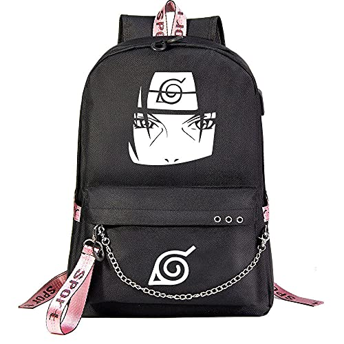 ZXXFR Mochila bolsos Anime NARUTO Youth Student School Bag Bolsa de viaje de gran capacidad Negro senderismo portatil ordenador instituto escolares juveniles bolso