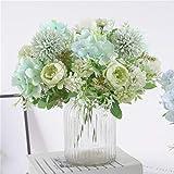 hzaming - bouquet di ortensie artificiali, piccole peonie artificiali, in seta, decorazione, garofani, fiori realistici, decorazione per matrimoni, centrotavola, 2 confezioni light green