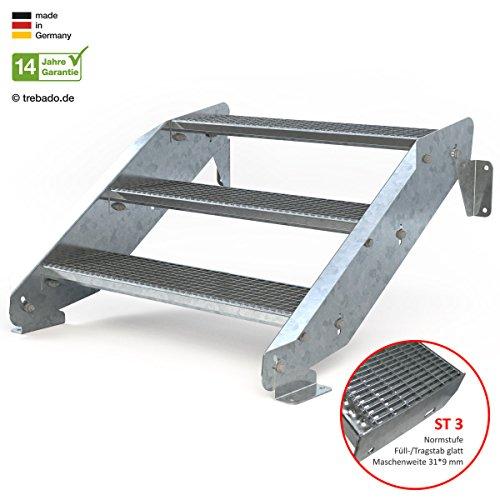 Außentreppe 3 Stufen 90 cm Laufbreite - ohne Geländer - Anstellhöhe variabel von 42 cm bis 64 cm - Gitterroststufe ST3 - feuerverzinkte Stahltreppe mit 900 mm Stufenlänge als montagefertiger Bausatz
