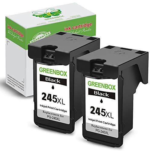 GREENBOX Remanufactured Canon PG-245XL PG 245 245XL 245 XL Ink Cartridge (2 Black) Used in Canon PIXMA MG2520 MG2920 MG2922 MG2924 MG2420 MG2522 MG3022 MG2555 MX492 IP2820 TS302 TS202 TR4520