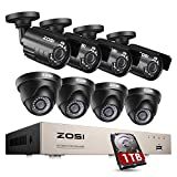 ZOSI Security Camera System Outdoor with 1TB Hard Drive,8Channel 5MP Lite H.265+ Wired DVR and 8pcs 1080P 1920TVL Home Weatherproof Surveillance Cameras,80ft Night Vision,Remote Access,Motion Alert