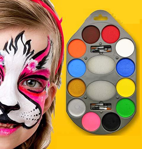Phil Beauty Pintura Corporal Pintura Maquillaje Facial Color De La Cara De Halloween Cuerpo Hidrosoluble COS Pintado Infantil 12 Colores