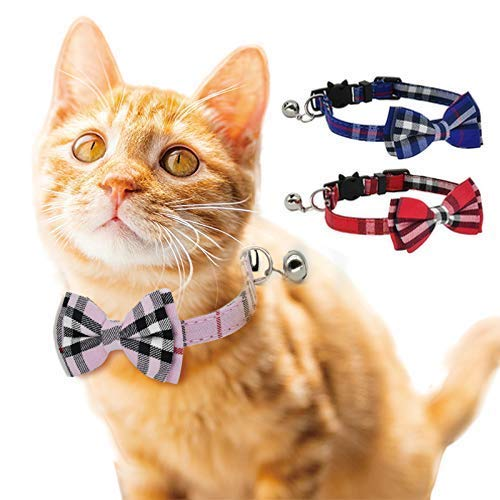 DAIXI Cat Collar, Breakaway with Cute Bow Tie and Bell for Kitty and Some Puppies, Adjustable from...