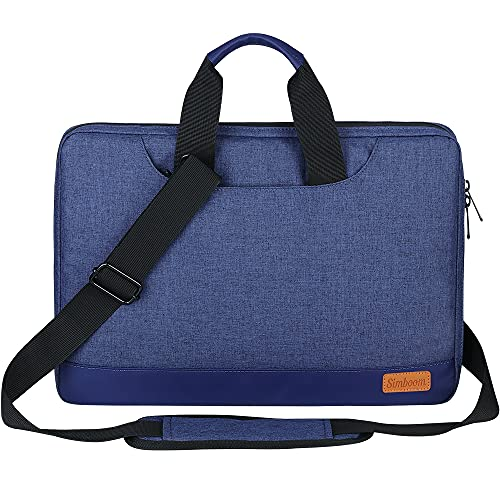 SIMBOOM Laptophülle, Laptoptasche 13-13,3 Zoll mit Schulterriemen & Gepäckgurt, 13 Zoll Tragbar Notebooktasche kompatibel PC Laptop Schutztasche Asus Dell Fujitsu Lenovo HP Toshiba - Blau