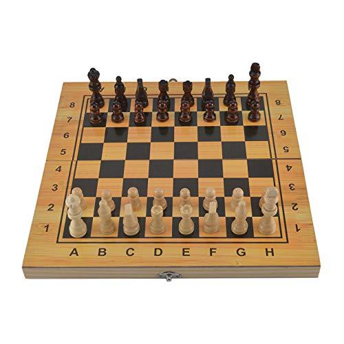 DHOUTDOORS Schach Dame Backgammon Holz Schachfiguren Schachspiel klappbares Schachbrett Schach Backgammon Klappe Spiel