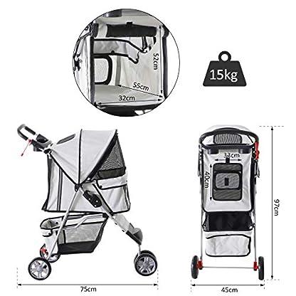 PawHut Pet Travel Stroller Cat Dog Pushchair Trolley Puppy Jogger Carrier Three Wheels (Gray) 3