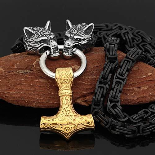 Nordic Thor's Hammer Mjolnir Amuleto Colgante Collar Hombres Bizantino Escandinavo Lobo Rey Cadena Vintage Hecho A Mano Acero Inoxidable Vikingos Joyería Regalo,Golden Pendant,80Cm Chain