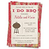 I Do BBQ Invitations Bridal Shower Wedding Party Couples Barbecue Rustic Barn Wood Grill Cook-Out Picnic Bonfire Country Say I Do Red (12 Count)