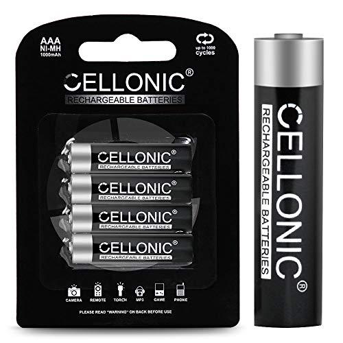CELLONIC® AAA Akku-Batterien - 1000mAh - vorgeladen, Lange Lebensdauer - 4X AAA/Micro / R03 / LR03 NiMH