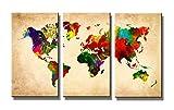 Visario Mapa del Mundo Imagen sobre Lienzo Tres Piezas, de de Pared de imágenes, Marco de Madera y Metal Sistema para Colgar, carbón, 120 x 80 x 1.5 cm