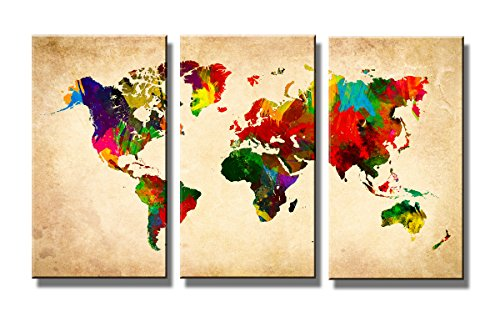 Quadro su tela mappa del mondo 160 x 90 cm 3 tele modello nr XXL 1169