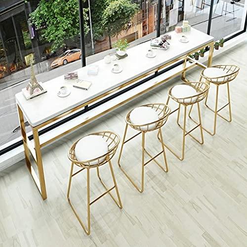 Tavolo da bar Tavolo da colazione Tavolo da bar in marmo Tavolo da parete moderno in ferro battuto creativo Tavolo da bar divisorio per soggiorno semplice (colore: bianco, dimensioni: 120x40x95cm)
