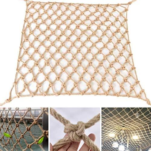 Review JNBJNB Hemp Rope Decoration Net - Natural Jute Weave Safety Protection Net Outdoor Climbing F...