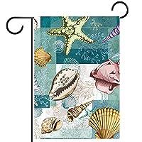 ガーデンサイン庭の装飾屋外バナー垂直旗Seashell Stalfish Coral Beach Marinenau オールシーズンダブルレイヤー