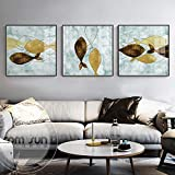N / A Pintura sin Marco Abstracto pez marrón Amarillo Lienzo Pintura Cartel Lindo Imagen de Arte de Pared para Sala Comedor decoración ZGQ7437 60X60cmx3