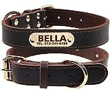 TagME Personalisierte Hundehalsbänder aus Leder mit Eingraviertem Namen und Telefonnummer / Hundehalsbänder aus Echtem Leder für Mittlere Hunde / Braun
