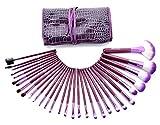Ensemble de pinceaux de maquillage Glow Purple - Ensemble de 30 pièces pour le maquillage du visage et des yeux - Kit de pinceaux polyvalents avec étui en similicuir - Couleur violette