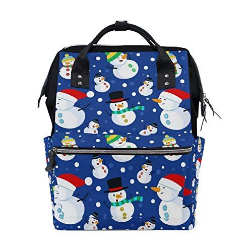 FANTAZIO Mummy Bag Backpack Merry Christmas Cute Snowman Dancing School Bag
