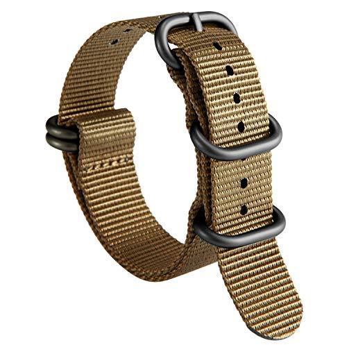 Nylon Reloj Correa gruesa G10 Balista Premium Zulu Bandas multicoloras para hombres Mujeres 18mm 19mm 20mm 21mm 22 mm 23mm 24mm con servicio pesado militar 5 anillos de plata / negro Hebilla de acero