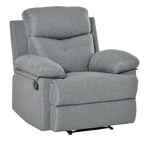 HOMCOM Fernsehsessel TV Sessel Relaxsessel Liegesessel 150°-Liegefunktion Leinen dunkelgrau