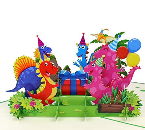 3D Geburtstagskarte [NEU!] – Happy Birthday Dino-Party mit Geschenk & Luftballons – XXL Geschenkkarte zum Geburtstag, handgefertigte Klappkarte mit Umschlag