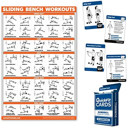 2 Pack Dumbbell Exercise Playing Cards Sliding Bench Laminated Workout Poster Compatible with product image