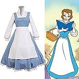 La Bella Y La Bestia Belle Dress Maid Lolita Cosplay Disfraz, Mujer Azul Conjunto Completo Vestido Halloween Navidad (Camisa + Vestido + Delantal + Sombreros),A,L