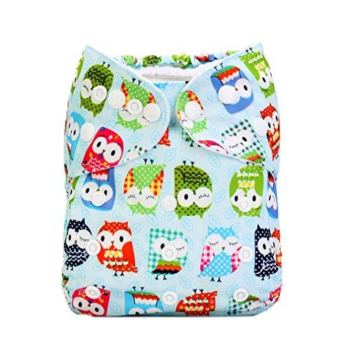 compra Tree 1/5bebé pañal pañal Bañador Pantalón Baby Pañales cubrepañales Cloth lavable regulable con botón de presión Resistente al agua Joven Chica Búho multicolor Talla:3-13kg