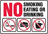Accuform Signs MSMG537VS Adhesive Vinyl Safety Sign, Legend'NO Smoking Eating OR Drinking' with Graphics, 7' Length x 10' Width x 0.004' Thickness, Red/Black on White
